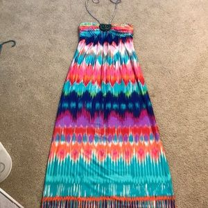 Long multi colored dress with ties around neck